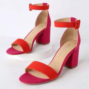 NWOT CL by Laundry Jody Orange & Pink Suede Heels
